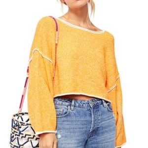 Free People Bardot Drop Shoulder Orange Sweater